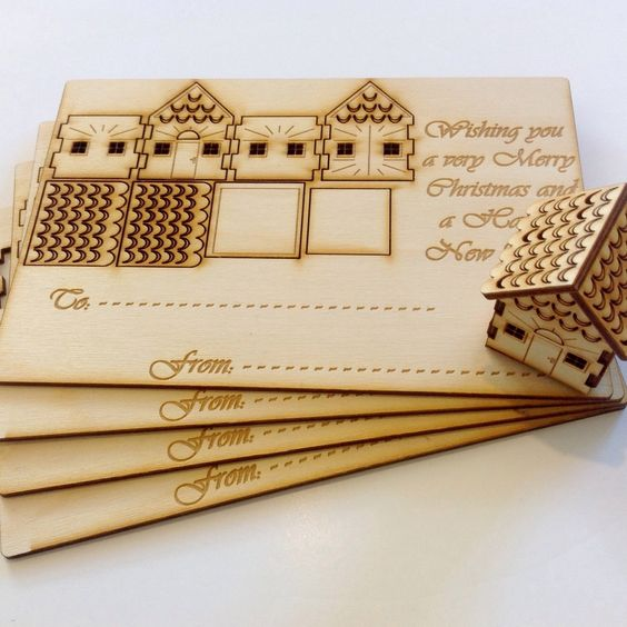 Cleaver wooden Christmas cards Laser engraving photo