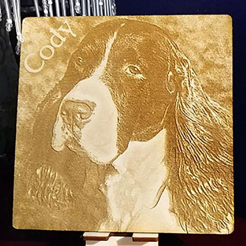laser engraved pet portrait