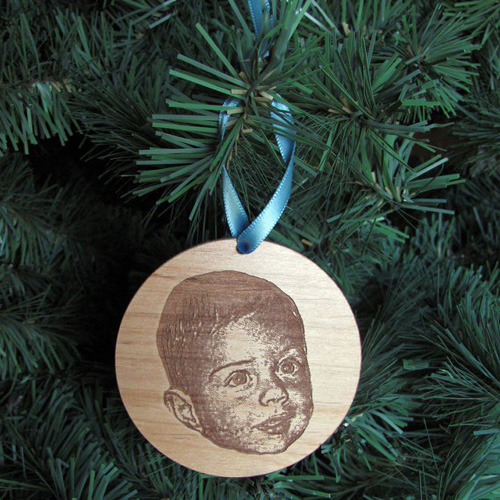 Son's first Christmas laser engraving photo