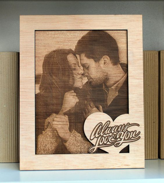 laser engraved photo on wood frame personalized